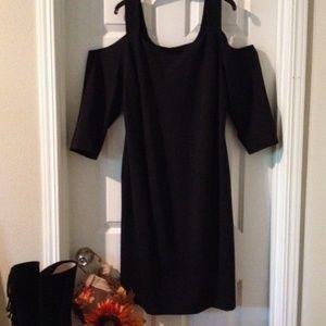 NWT! SZ 20 Black Cold Shoulder sleeves LB Dress